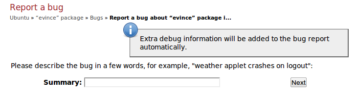 Launchpad asking for a bug title