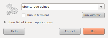 "Filing a bug with the ""Run Application"" window"